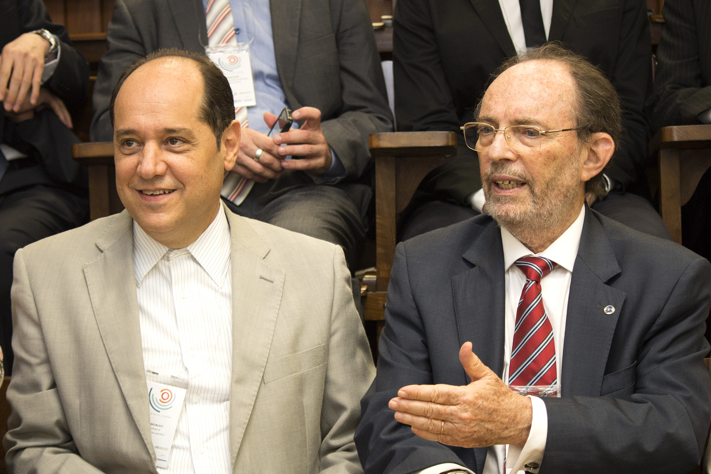 Eugenio Bucci and Hernan Chaimovich at the opening of the Intercontinental Academia - April 17, 2015
